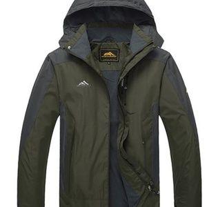 Men's Army Green Khaki 2-in-1 Outdoor Ski Jacket